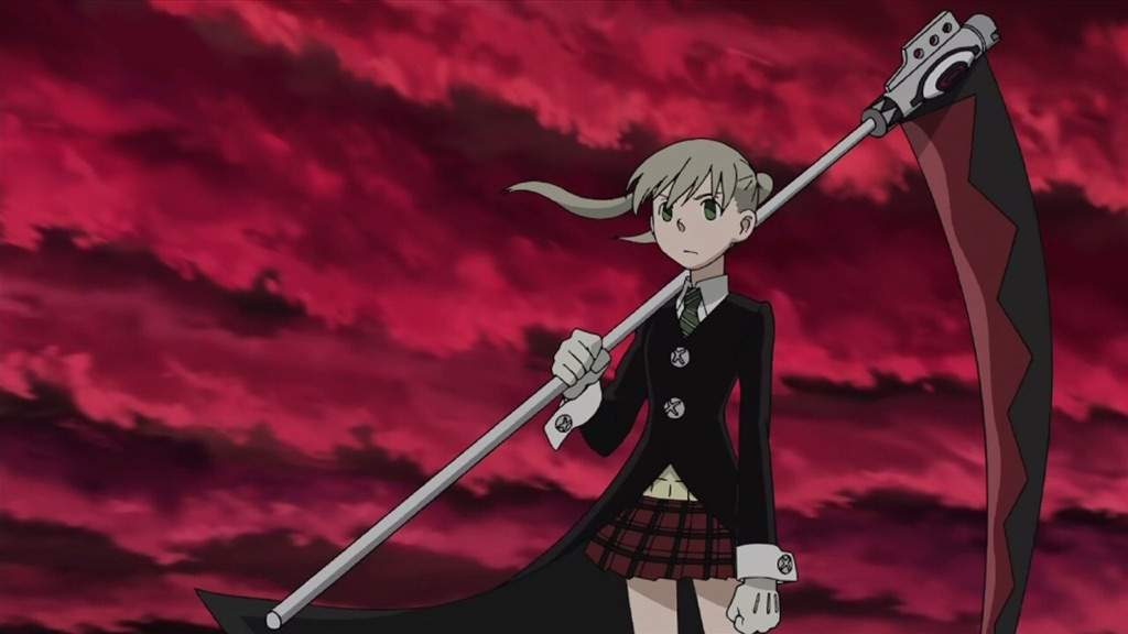 Maka from Soul Eater standing with Soul as a scythe, with red clouds in the background.