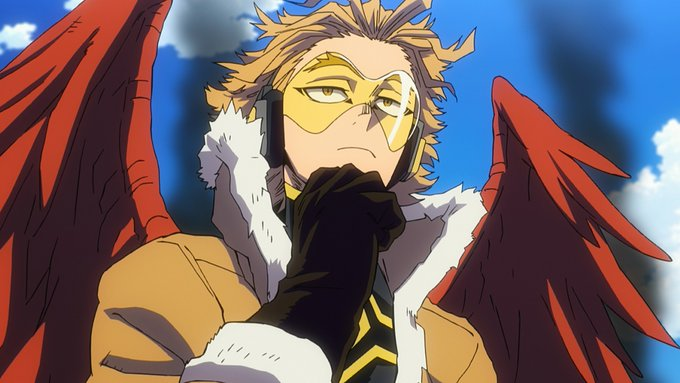 Picture of hawks as he makes his debut from manga to the my hero academia heroes rising film.