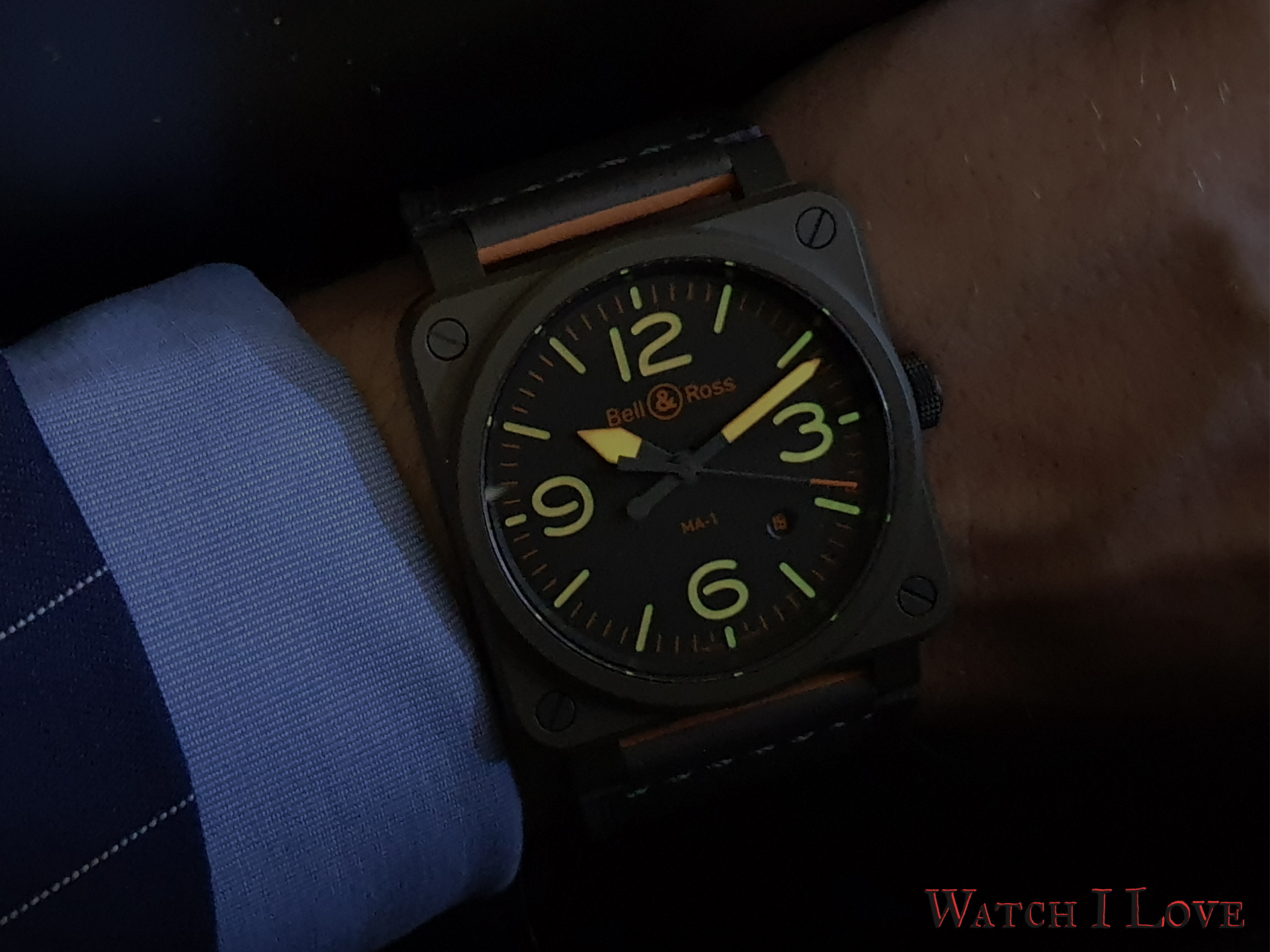 Bell & Ross BR 03-92 MA-1 dial low light