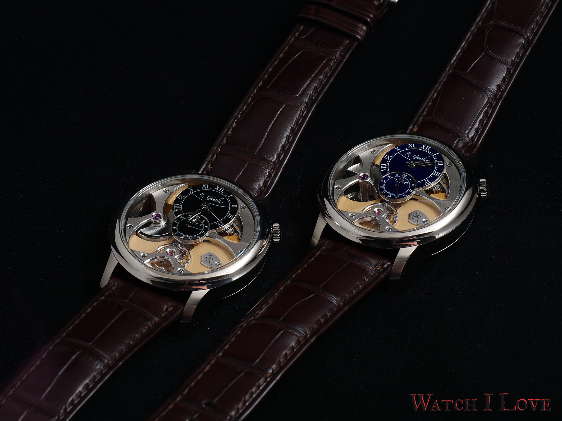 Romain Gauthier Micro-Rotor white gold limited editions black and blue