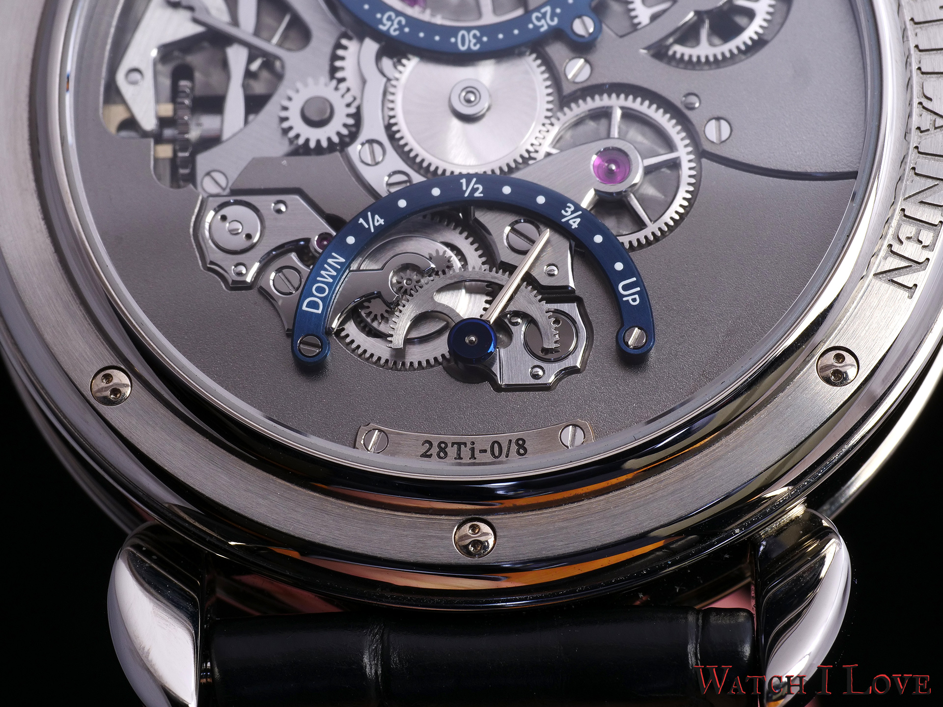 The power reserve indication visible on the back of the Voutilainen 28ti