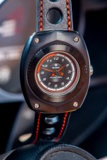 Blasta Watch Scuderia Veloce, nero profondo. Photo taken in the interior of a Alfa Romeo Montreal. ©2019 Blasta Watch Ltd. All Rights reserved.