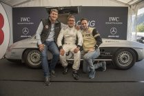 "AROSA, SWITZERLAND – 01. September 2019: Linus Fuchs, IWC Managing Director Switzerland and Bernd Schneider and Pascal Jenny, director Arosa Tourism bitte in richtiger Reihenfolge , attended the 15th Arosa Classic Car where the IWC Racing Team showed up on the grid for the second time. Bernd Schneider drove the Mercedes-Benz 300 SL ""Gullwing"" on the winding 7.3 kilometre hill-climb route from Langwies to Arosa. (Photo by Ilja Tschanen, module+ for IWC)"