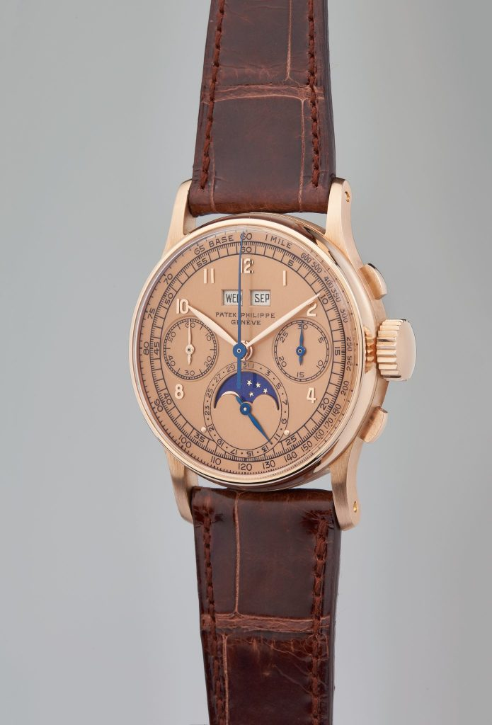 Patek Philippe, Reference 1518 A highly important, very rare, and exceptional perpetual calendar chronograph wristwatch in 18 karat pink gold, circa 1947