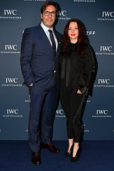 """2017 filmmaker award winner Niklaus Hilber and a guest attend the IWC Private Dinner held at Haute on October 05, 2019 in Zurich, Switzerland. During the event, Australian actor and IWC brand ambassador Cate Blanchett presented the 5th Filmmaker Award. The film """"Wanda, my miracle"""", directed by Bettina Oberli and produced by Lukas Hobi and Reto Schaerli, was declared the winner by the jury. The award, which is worth CHF 100,000, supports outstanding Swiss film projects that are in the production or post-production stage. (Photo by Harold Cunningham/Getty Images for IWC)"""