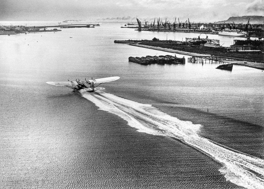 The huge seaplane, the Latécoère 521 Lieutenant de Vaisseau Paris taking off from the port of Le Havre, France, June 1935, Latécoère Foundation Archives @Latécoère Foundation.