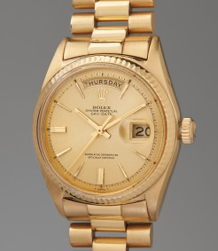 Ref. 1803, inside case back further stamped 1800 A fine and culturally significant yellow gold wristwatch with day, date and bracelet, sold to benefit the Nicklaus Children's Health Care Foundation