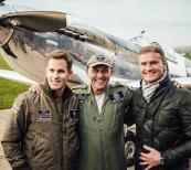 GOODWOOD, WEST SUSSEX, ENGLAND - DECEMBER 5: Pilots Steve Boultbee Brooks and Matt Jones have made aviation history after completing the first ever round-the-world flight in a Spitfire. Boultbee Brooks and Jones landed just in time for Christmas to a rapturous welcome at Goodwood on the 5th of December, four months after they set off on their epic expedition. (Photo by Christopher Busch for IWC).
