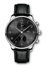 IWC Portugieser Chronograph Ref. IW371609: Stainless-steel case, black dial, rhodium-plated hands and appliqués, black alligator leather strap.