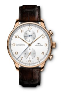 IWC Portugieser Chronograph Ref. IW371611: 18-carat 5N gold case, silver-plated dial, gold-plated hands, 18-carat gold appliqués, brown alligator leather strap by Santoni.