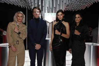 NEW YORK, NEW YORK - MARCH 12: Ashlyn Harris, Frederic Arnault,.Chief Strategy & Digital Officer TAG Heuer, Paulina Vega and Ali Krieger attend The Launch of The New Connected Watch by TAG Heuer at The Caldwell Factory on March 12, 2020 in New York City. (Photo by Brian Ach/Getty Images for TAG Heuer )