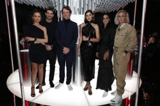 NEW YORK, NEW YORK - MARCH 12: Almudena Fernandez, Aitor Ocio, Frederic Arnault, Chief Strategy & Digital Officer TAG Heuer, Paulina Vega, Ali Krieger and Ashlyn Harris attend The Launch of The New Connected Watch by TAG Heuer at The Caldwell Factory on March 12, 2020 in New York City. (Photo by Brian Ach/Getty Images for TAG Heuer )