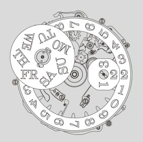 Illustration of the day-of-week and date mechanism