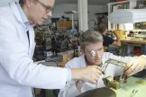 Cyrano and Dominique were apprentices together at the Solothurn watchmaking school, graduating in 1994. Dominique went on to gain a masters in physics while Cyrano worked his way up to the head of Omega's luxury watch division. They came together again in 2009 to set up a watch engineering workshop in Buchs working exclusively for the independent watch brand URWERK.
