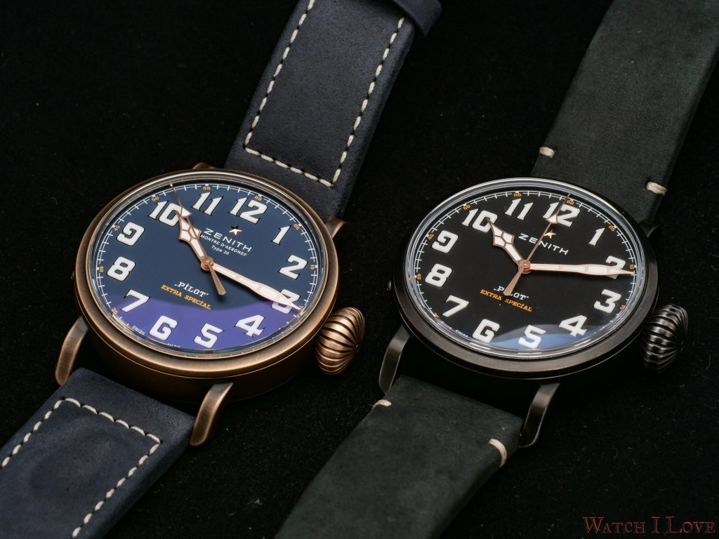 Zenith Pilot Type 20 Extra Special Blue and Zenith Pilot Type 20 Ton Up Black