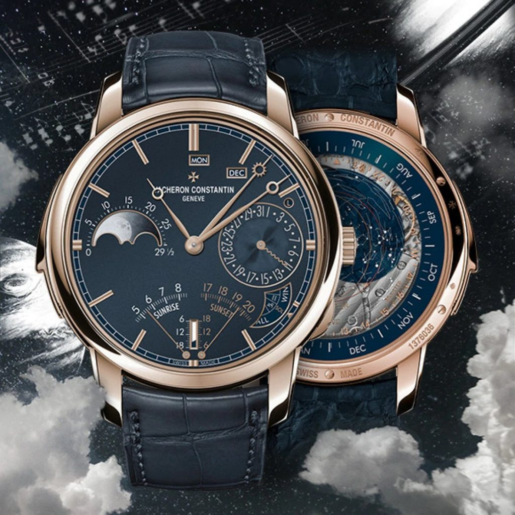 """19 complications for this unique double-sided minute repeater model displaying solar, sidereal and civil time complete with a perpetual calendar. An ultra-thin calibre less than 8 millimetres thick. """"La Musique du Temps®"""": a range of one-of-a-kind timepieces created within the Les Cabinotiers department in tribute to the art of music. As partners of the Maison, Abbey Road Studios have recorded an original sound print delivered as a oneoff certificate for each of the pieces in the range dedicated to """"La Musique du Temps®"""""""