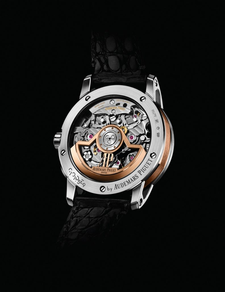 Chronograph components usually hidden from view are visible through the sapphire caseback of the collection's Selfwinding Chronograph models.