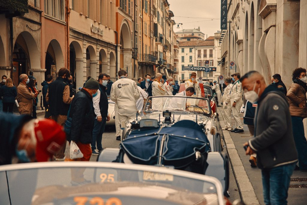 Cars and drivers before the start of the race, 1000 Miglia 2020. Brescia, Italy (c) Adam Fussell