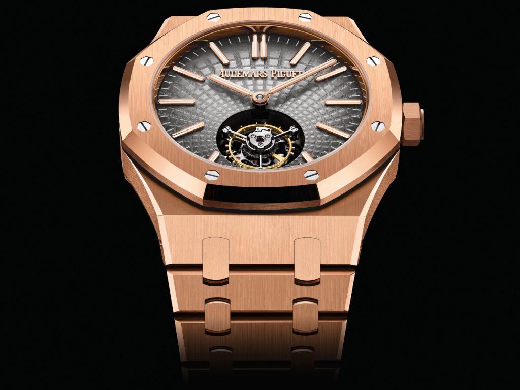 オーデマ・ピゲは3モデルの全く新しいロイヤルオークに自動的に鎖のフローティング陀はずみ車の41ミリメートルの腕時計に行くように出します