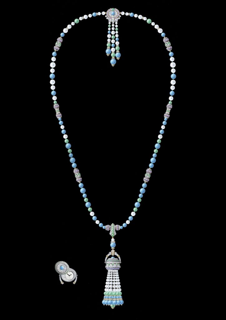 Pompon Gaia transformable long necklace watch White gold, yellow gold, purple sapphires, tsavorite garnets, turquoise, chrysoprase, white cultured pearls, white mother-of-pearl, diamonds, quartz movement