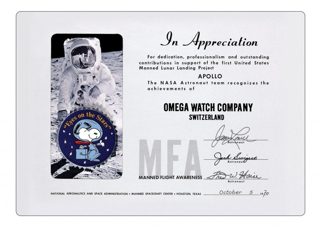 The Silver Snoopy Award document courtesy of Omega