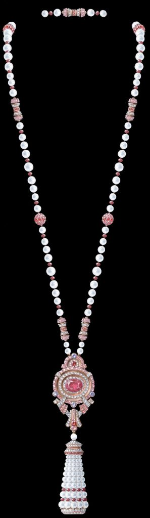 Pompon Leila transformable long necklace watch with detachable clip Rose gold, one pink cushion-cut spinel of 8.99 carats, pink and mauve sapphires, rubies, white cultured pearls, white mother-of-pearl, diamonds, quartz movement
