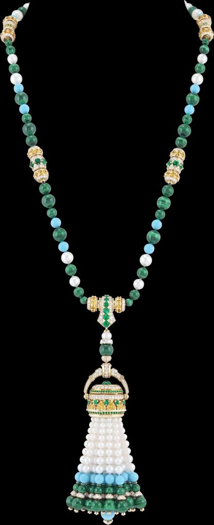 Pompon Gaia transformable long necklace watch Yellow gold, yellow sapphires, emeralds, malachite, turquoise, white cultured pearls, white mother-of-pearl, diamonds, quartz movement