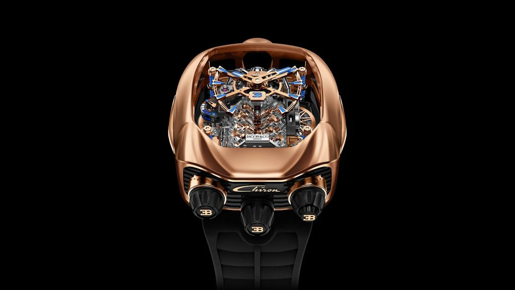 The Jacob & Co. x Bugatti Chiron Tourbillon Limited Edition in 18-karat Rose Gold.