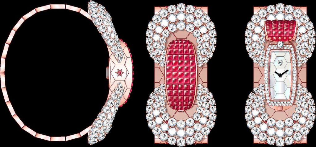 Ludo Secret watch Rose gold, Traditional Mystery Set buff-topped rubies, rubies, white mother-of-pearl, diamonds, quartz movement