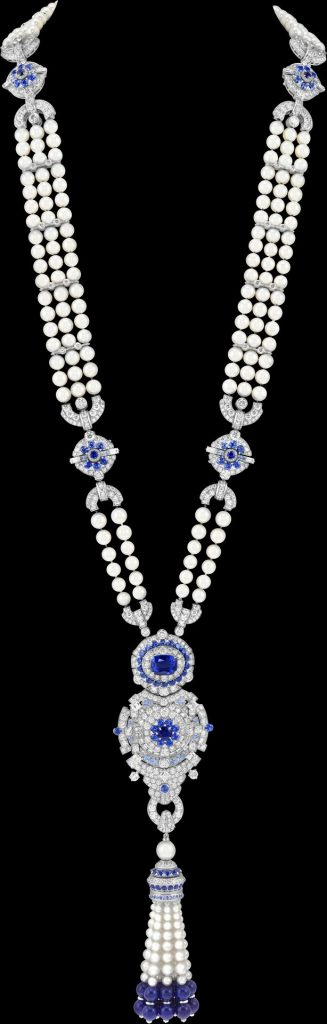 Pompon Margaret long necklace watch White gold, one cushion-cut sapphire of 6,19 carats (Sri Lanka), sapphires, lapis lazuli, white cultured pearls, white mother-of-pearl, diamonds, quartz movement
