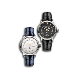 Dial: Silver or black, each with vertical satin finish,12 rose gold colored indices (double index at 12 o'clock)