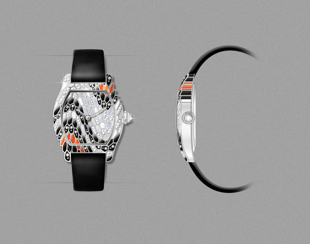 The Tortue watch and its snake decoration