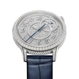 Doubly inspired by the world of Haute Couture and the aesthetic codes derived from Vacheron Constantin's heritage, the Égérie collection reveals a new facet of its personality. Both classic and daring, it is enhanced by two Égérie self-winding diamond-pavé models. Crafted in 18K white gold or 18K 5N pink gold and entirely set with 303 diamonds on the 35mm-diameter case and 574 diamonds on the dial, these new interpretations are an invitation to enjoy a variety of pleasures thanks to their tool-free interchangeable strap system. Delivered with two straps – in satin and alligator leather – they embrace the feminine wrist with precious elegance and accompany every moment to the rhythm of calibre 1088, a self-winding Manufacture-made movement.