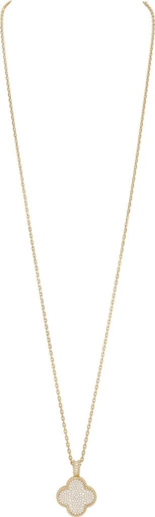 Alhambra secret pendant watch, yellow gold, diamonds, dial in guilloché yellow gold, quartz movement