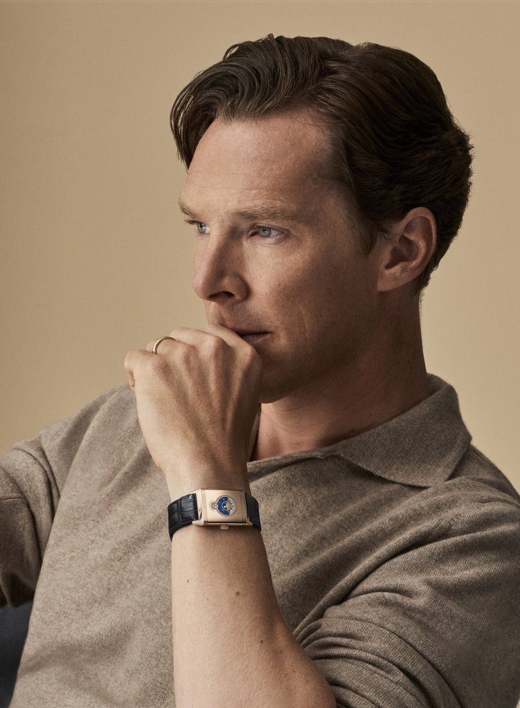 Benedict Cumberbatch outfitted in elegance with the Jaeger-LeCoultre Reverso Tribute Nonantième