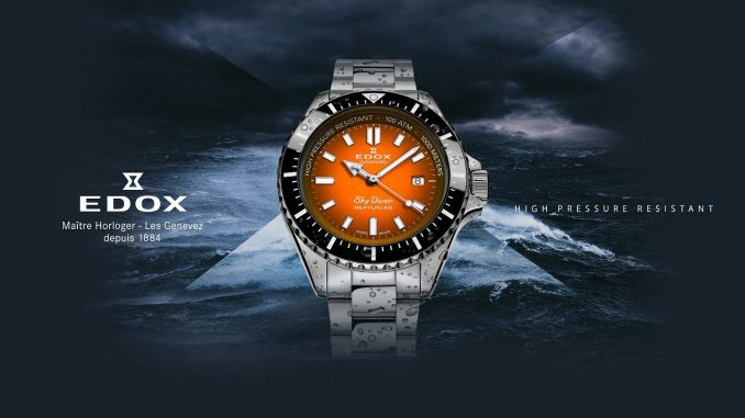 Edox SkyDiver Neptunian Orange