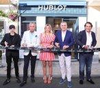 Fabio Rovazzi Carlo Bartorelli Diletta Leotta Ricardo Guadalupe and Giorgio Rocca at the opening of the Hublot Boutique Forte Dei Marmi