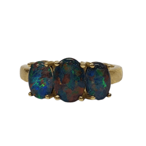 9ct yellow gold trilogy Opal ring_0