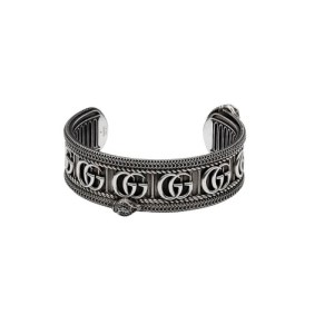 Gucci GG Marmount Cuff Bracelet Snake Motif Aged Silver YBA577296001019_0