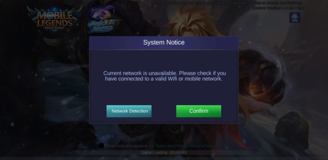 why cant i play mobile legends on my galaxy 9+ after the