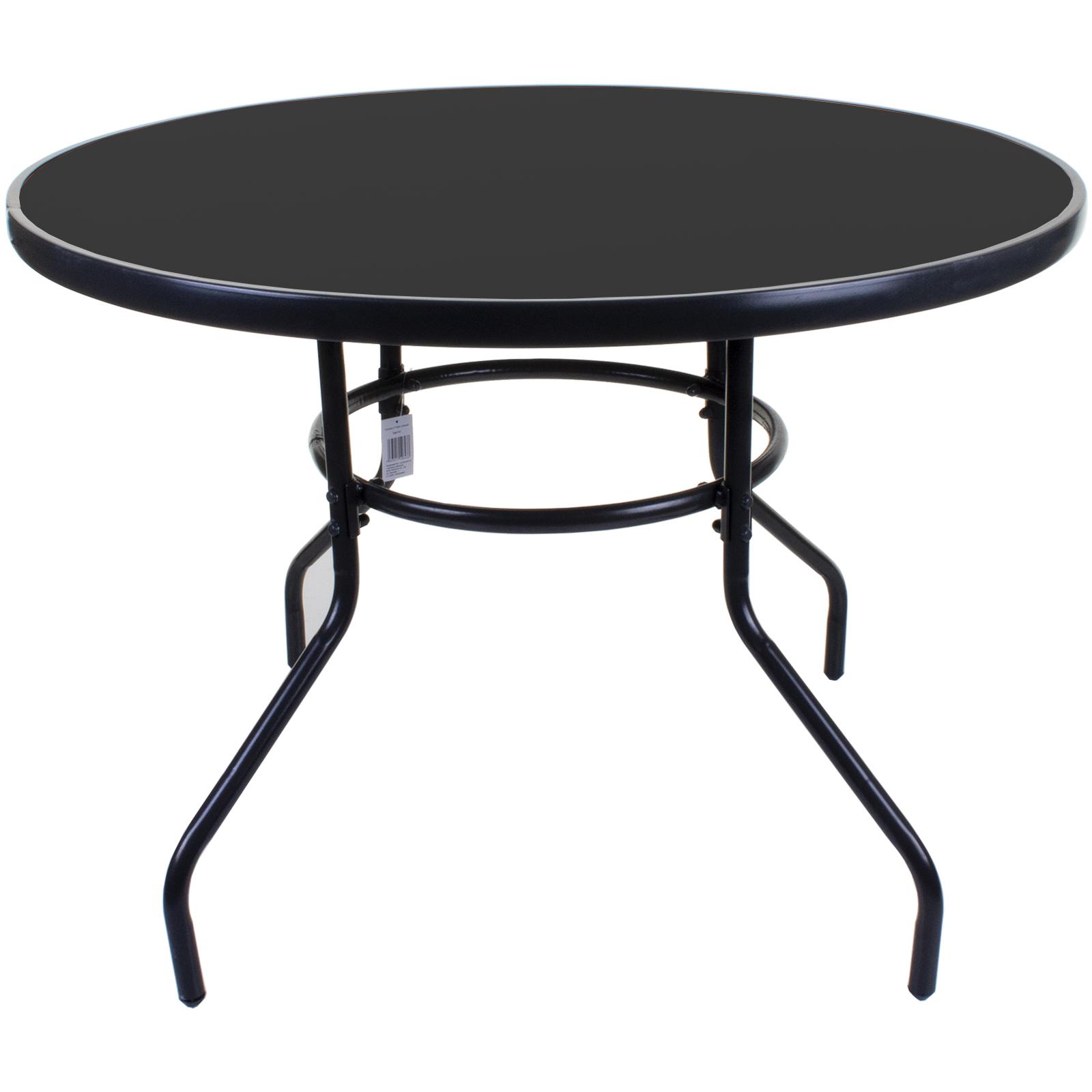 100cm round glass table black metal