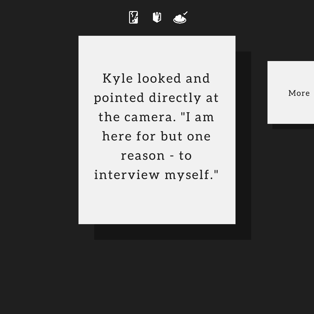 minimalist game action card describing character interviewing himself, 4/10 free steam games