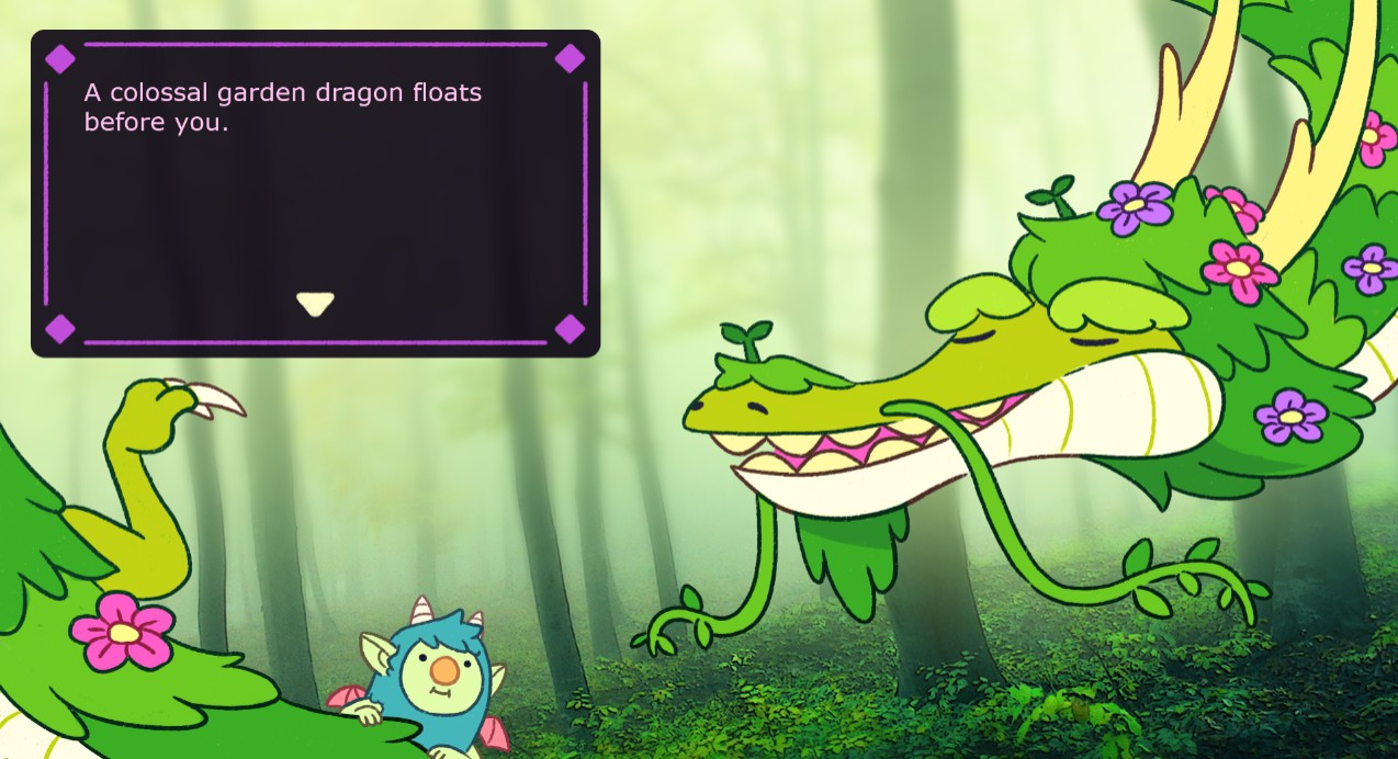green cartoon dragon in forest, small creature in bottom corner, 2/10 free steam games