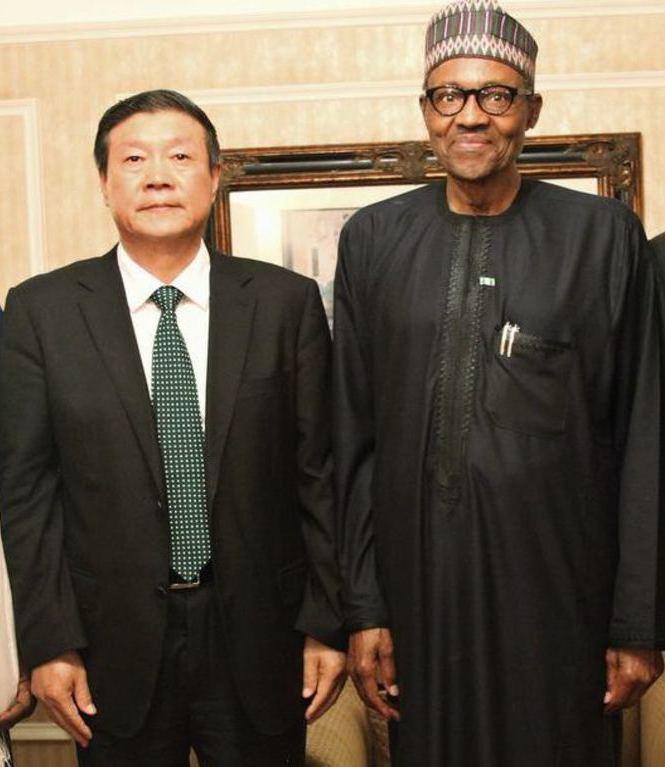 President Buhari with ELION Chairman Wang Wenbiao in Beijing, China