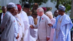 PRESIDENT BUHARI RECEIVED PRINCE CHARLES AND WIFE 8. R-L;President Muhammadu Buhari Introduces the Minister of Interior, Lt Gen Abdulrahman Dambazzau to Prince Charlesaccompanied by his wife, Camilla at the State House, Abuja.
