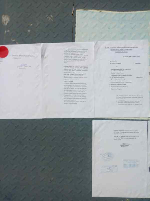Industrial Court Hearing Notice pasted on the wall of CCT