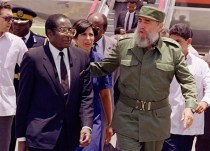 Mugabe with Cuban President Fidel Castro in Havana in 1992.