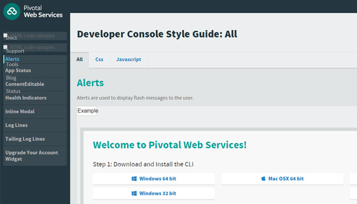 pivotal web services website