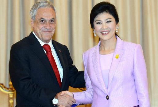 Yingluck Shinawatra et le président chilien Sebastián Piñera Echenique