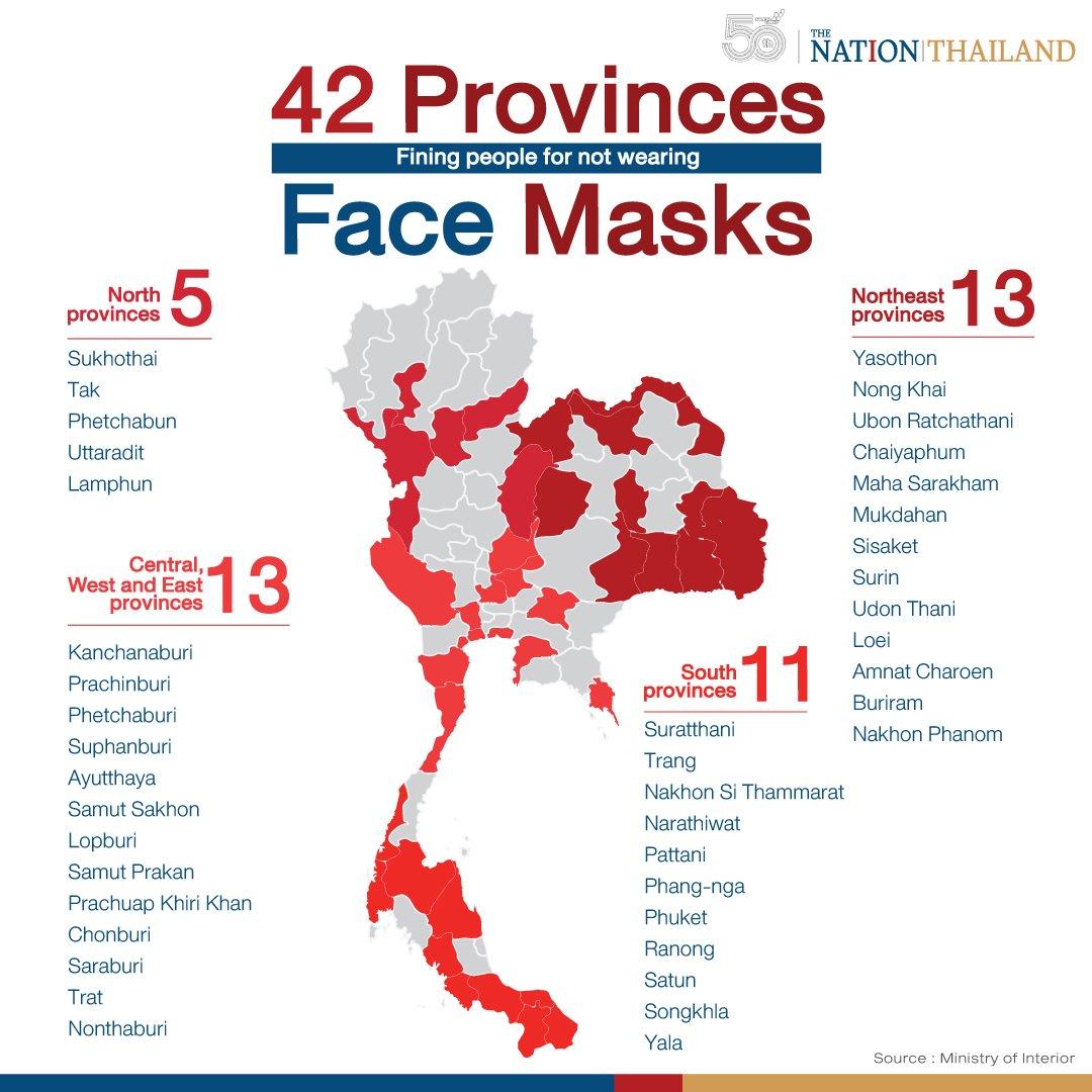 Les 43 provinces de Thaïlande où le port du masque est obligatoire sous peine d'amende